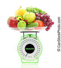 Healthy eating Kitchen scale with fruits and vegetables