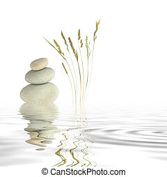 Zen Peace - Abstract of three natural grey pebbles balanced...