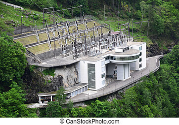 Power station in Verzasca valley, Switzerland