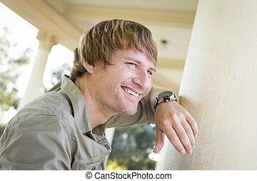 年輕, 外面, 肖像, 微笑, 人, 漂亮