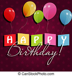 birthday card with colored ballons, vector illustration