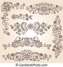Henna Vines Frame Borders Vector - Henna Paisley Vines and...
