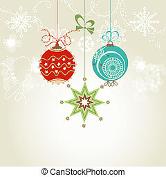 Shiny Christmas card with colorful ornaments vector...