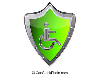 disabled Stick man in wheelchair icon vector illustration on...