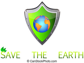 save Green Earth Planet on metal shield button vector...