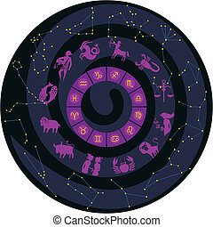 Zodiac Wheel With Constellations - Zodiac wheel with...