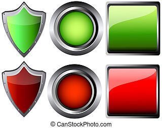 empty button and shield vector illustration