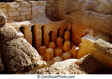 Roman bath house in old Caesarea Israel - The Roman bath...