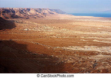 Landscape View of the Dead Sea From Masada Israel