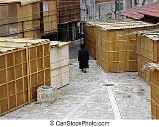 Sukkot in Meah Shearim neighborhood in Jerusalem, Israel.