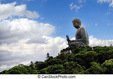 Tian Tan Buddha (Big Buddha) located at Ngong Ping, Lantau...
