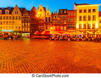 Cathedral Square at Night, Antwerp - Vintage Houses near...