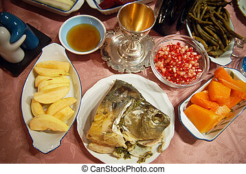 Rosh Hashana Dinner Table in Israel - Traditional Rosh...
