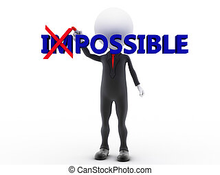 Businessman turning the word impossible into possible on...