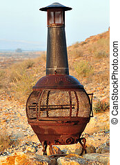Outdoor fire heater - An outdoor fire heater in the Negev...