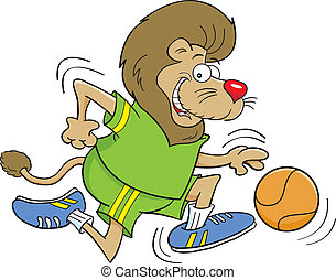 Cartoon Basketball Lion