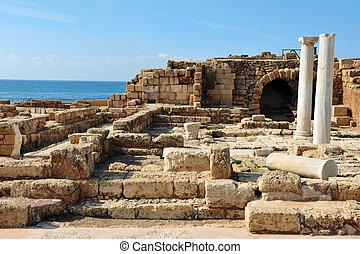 Old Caesarea in Israel - Ruins in ancient Caesarea, Israel.