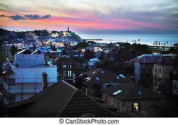 Cityscape of of Jaffa Yafo during sunset in Tel Aviv Israel.