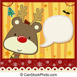 christmas card baby rudolph - vector image for christmas...