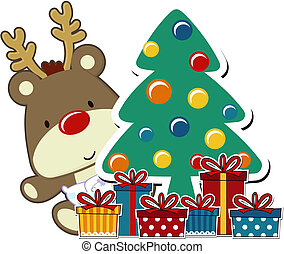 baby christmas rudolph - vector image of baby rudolph and...