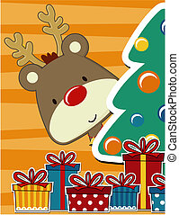 cute christmas card - vector image for christmas card with...