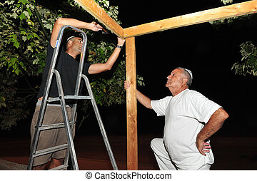 Sukkot Jewish Holiday in Israel - An Israeli men are...