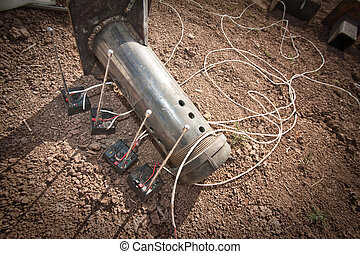 Steel Pipe Explosive Device - Steel pipe explosive with four...