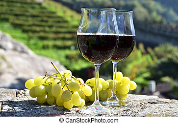 Pair of wineglasses and grapes Bellinzona, Switzerland
