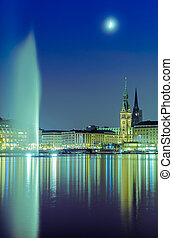 The Alster Lake in Hamburg, Germany - View across the Inner...