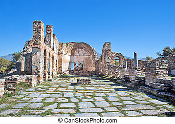 Saint Achilleios old Byzantine church ruins at lake Prespa...