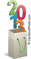 2013 bag - illustration of bag with 2013 colorful text