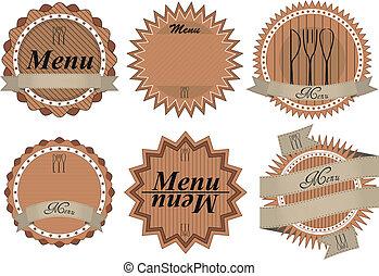 menu badge - illustration set of old vintage menu badge