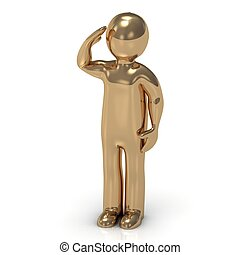 3D gold man soldier salutes. Character figurine