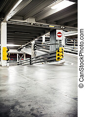 Parking garage in basement, underground interior