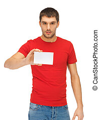 handsome man with note card - bright picture of handsome man...