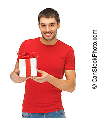 handsome man with a gift - bright picture of handsome man...