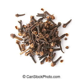 Cloves - Heap of cloves isolated on white. Top view.