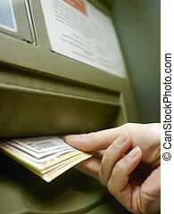 Hand Using ATM Keyboard - Finger using automatic teller...