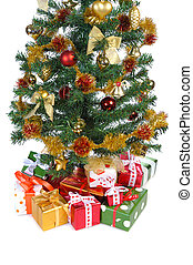 gift boxes under Christmas tree - heap of gift boxes ornated...