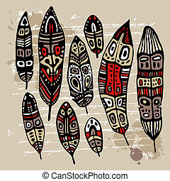 Ethnic Feather Set - Ethnic Feather vector set Hand drawn...