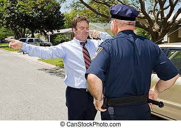 Roadside Sobriety Test - Police officer giving a roadside...