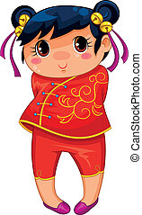 chinese girl - little Chinese girl drawn in manga style