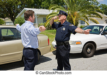 Police Officer Demonstrates - Police officer demonstrating a...