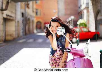 woman and motorbike - woman and pink motorbike