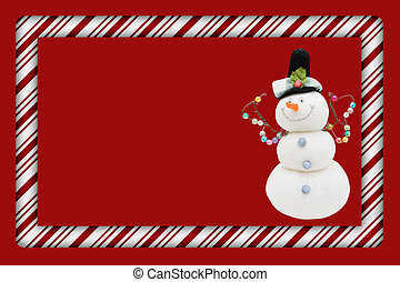 Candy Cane with Snowman Frame for your message or invitation...
