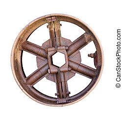old metal drive wheel - vintage metal drive wheel on a white...