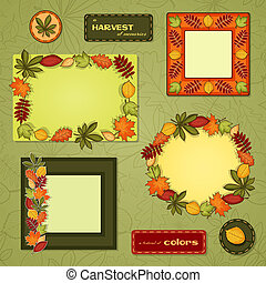 Autumn vector frame set - Vector set with different frames...