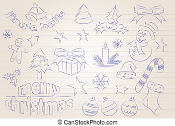 Vector sketched christmas icons - Abstract vector sketched...