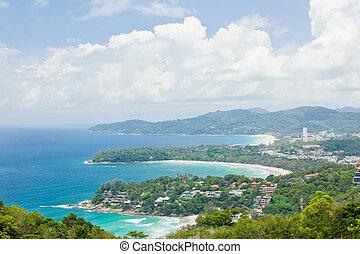 Kata beach Viewpoint Phulet Thailand - Aerial view landscape...