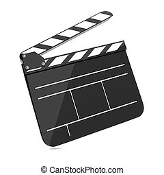 Film Clap Board Cinema. Isolated on white Background.